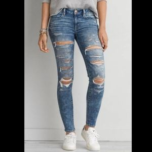 American Eagle Jeggings Ankle Skinny Jeans Ripped Mid Rise Acid Wash Stretch